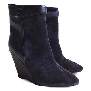 NEW Purdey Suede/Leather Wedge Booties - Black